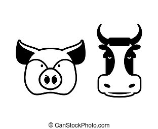 Pig and cow icons. Head farm animal stencil. Pork and beef sign Flat