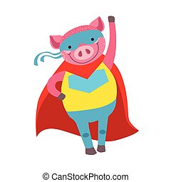 Pig Animal Dressed As Superhero With A Cape Comic Masked Vigilante Character