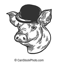 Pig animal in bowler hat engraving vector illustration....