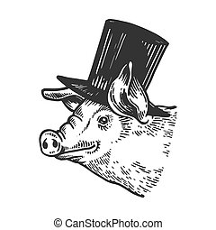 Pig animal in cylinder top hat engraving vector...