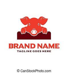 pig animal logo design