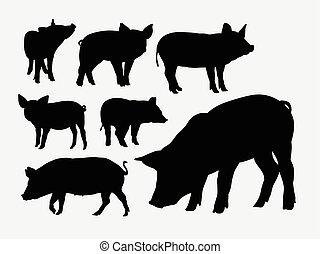 Pig animal silhouettes