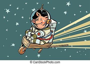 Pig astronaut rides on a wooden wheelbarrow