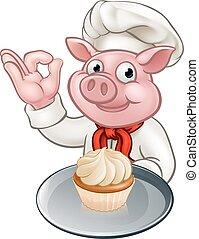 Pig Baker Chef Cartoon Character Mascot - A baker or chef...