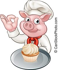 Pig Baker Chef Cartoon Character Mascot - A baker or chef...