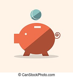 Pig Bank Flat Design Vector Icon