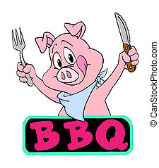 Pig Barbeque - hand drawn cartoon pig ready for a barbeque