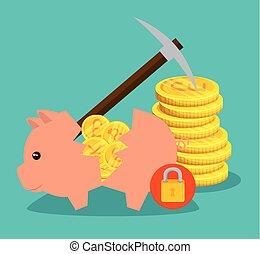 pig broken with international money to exchange