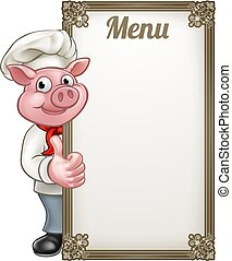 Pig Cartoon Character Chef Menu