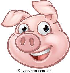 Pig Cartoon Character Mascot - An illustration of a happy...