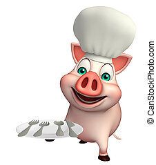 Pig cartoon character with chef hat and dinner plate - 3d...