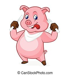 Pig cartoon holding fork and knife isolated in white...