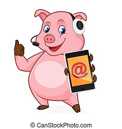 Pig cartoon holding phone and wearing headphone