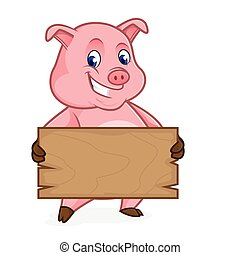 Pig cartoon holding wooden plank isolated in white...