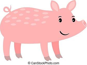 Pig cartoon pink farm animal