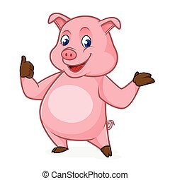 Pig cartoon smiling and giving thumb up isolated in white...
