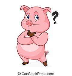 Pig cartoon thinking