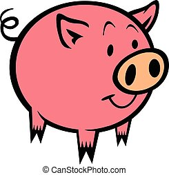 Pig cartoon vector illustration