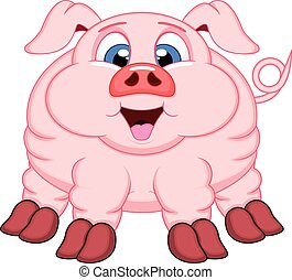 Pig cartoon with smile - colourfull