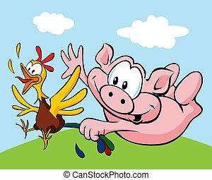 pig catch a hen cartoon