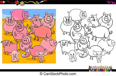 pig characters group coloring book