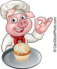 Pig Chef Baker Cartoon Character
