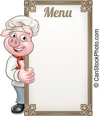 Pig Chef Cartoon Character Chef Menu