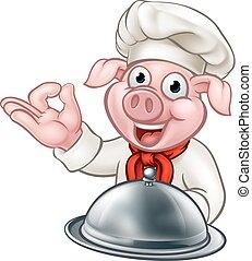 Pig Chef Cartoon Character