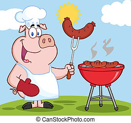 Pig Chef Cook At Barbecue On A Hill - Happy Pig Chef Cook At...