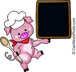 Pig chef cook holding a blackboard menu