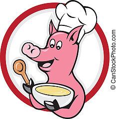 Pig Chef Cook Holding Bowl Cartoon