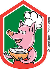 Pig Chef Cook Holding Bowl Shield Cartoon
