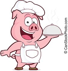 Pig chef holding silver cloche - Clipart picture of a pig...