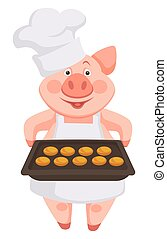 Pig chef wearing hat and apron, holding baking sheet