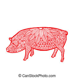 pig - Chinese zodiac - Red pig with floral decoration on...