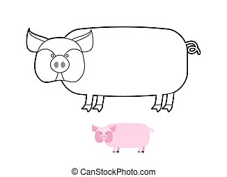 Pig coloring book. Vector illustration of farm animals