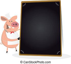 Illustration of a pig chef cook holding a blackboard menu