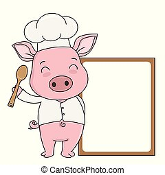 Pig cook with blank frame for text