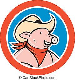 Pig Cowboy Head Circle Cartoon