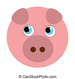 pig cute animal character farm