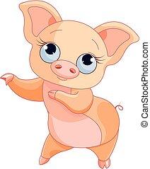 Pig Dance - Illustration of cute dancing pig