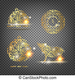 Pig decoration - symbol of 2019 year. Golden swine decoration toy with transparency background.