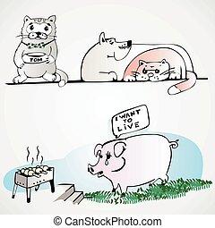 pig dog cat