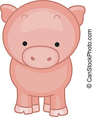Pig - Illustration of a Cute Little Pig