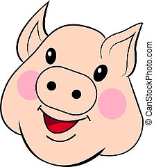 Pig drawn by hand. Sweet face pig. Full-color outline drawing vector isolated on white background.