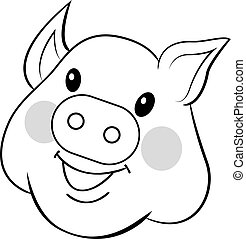 Pig drawn by hand. Sweet face pig. Outline drawing vector isolated on white background
