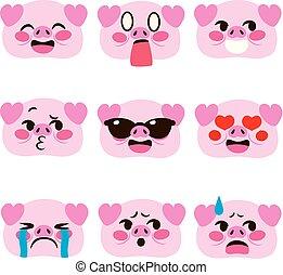 Pig Emoji Avatar Expressions