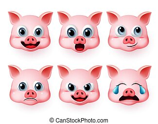 Pig emoji vector set. Pigs cute face emoticon and emojis with happy, crying and surprise expressions isolated.