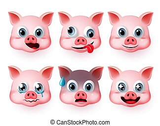 Pig emoticon fat face vector set. Emoji pigs head in cute faces like happy and scared facial expressions.