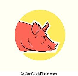 Pig Face Closeup Vector